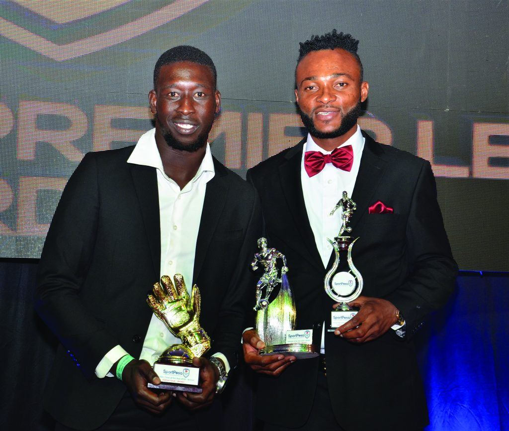 Felly Mulumba and team mate Faruk Shikhalo at the 2018 KPL Awards gala