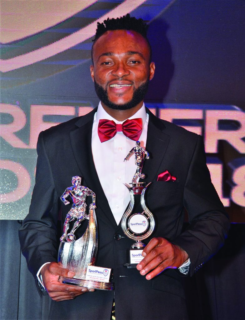Felly Mulumba poses with his trophies at the 2018 KPL Awards gala